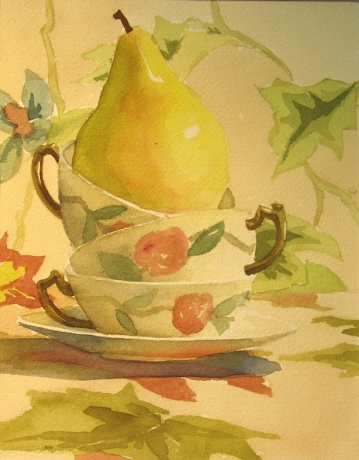 13. A Pear and Three, Watercolor, 16X12, SOLD