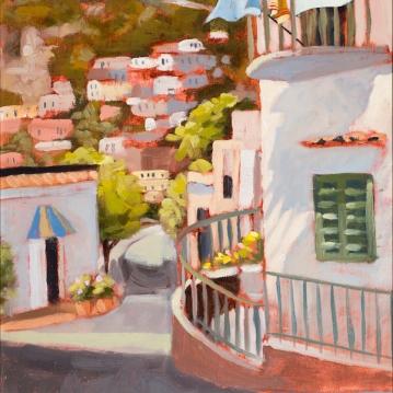 18. Positano, Laundry Day, Oil on Panel, 9x12 $900