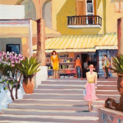 19. Positano, Stairs to the Beach, Oil on Pane, 16x12 $900