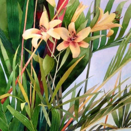 2. Florida Lilies, Watercolor, 30x22 $2100