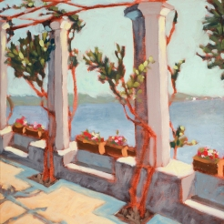 22. Ruffolo Gardens, Ravello, Oil on Panel, 16x12 $900
