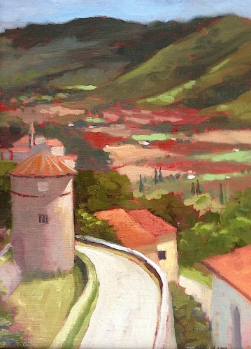 25. Cortona, View from Piazza Garibaldi, Oil on Panel10x8 $500