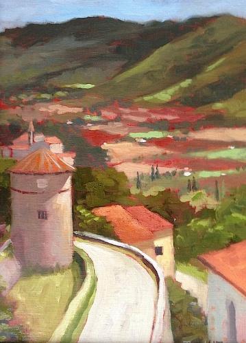 25. Cortona, View from Piazza Garibaldi, Oil on Panel10x8 $500