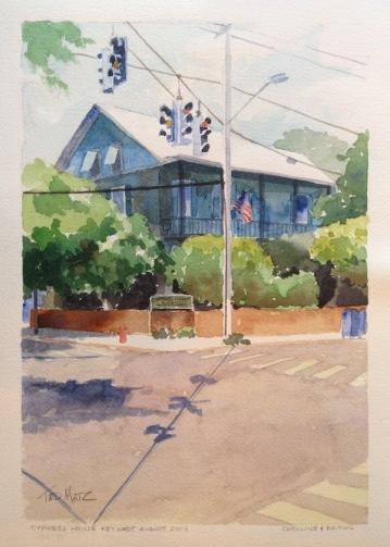 27. Cypress House, Key West, Watercolor, 12x9, $700