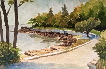 28. Bar Harbor, Maine, Watercolor, 9x12, $700