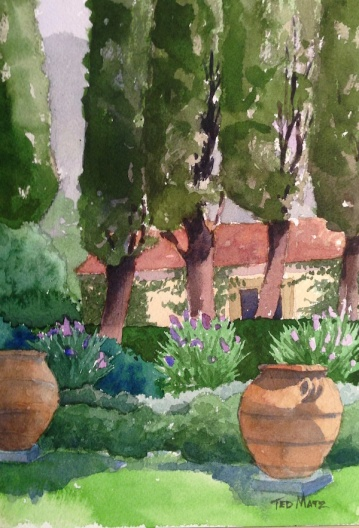 29. Garden in Cartona, Watercolor, 10x8, $500