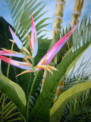 3. Bird of Paradise, Watercolor, 30x22, $2100