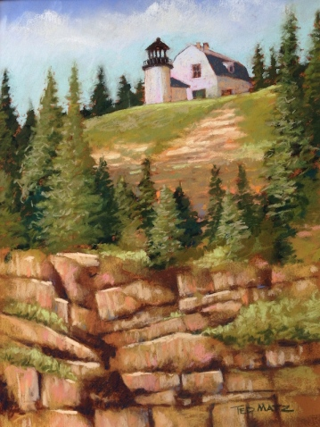 31. Bear Island Lighthouse Maine, Pastel, 16x13, $900