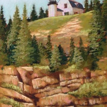 31. Bear Island Lighthouse Maine, Pastel, 16x13, $900