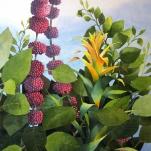 8. Berry Bush, Watercolor, 30x22 SOLD